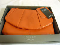 Osprey London designer clutch shoulder bag orange leather boxed new