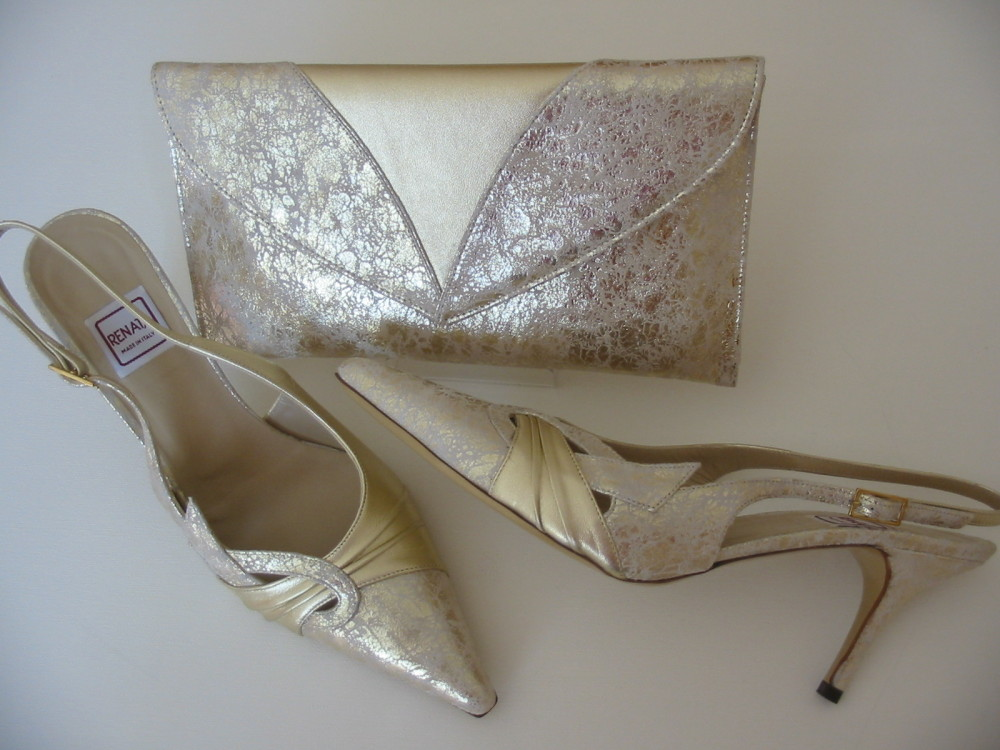 Renata shoes matching clutch bag. golds mother bride size 6