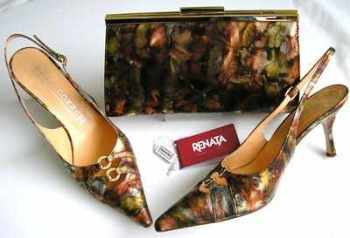 Renata designer shoes matching bag rust gold silver crystals size 6.5