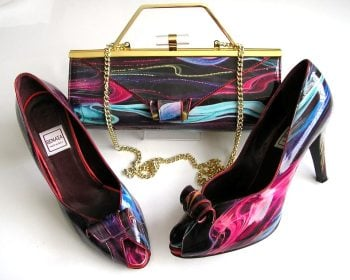 Renata designer shoes matching 3 way bag purple multi size 6
