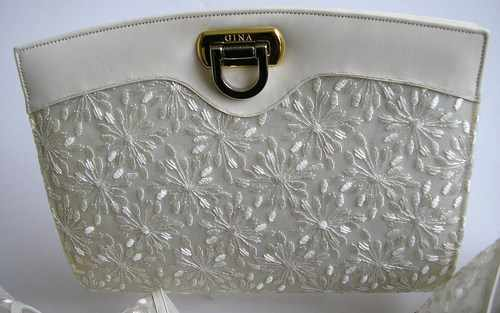 gina cream lace bag