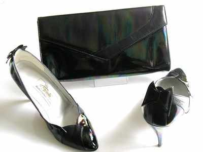 Renata designer shoes matching bag.black oily pattern size5