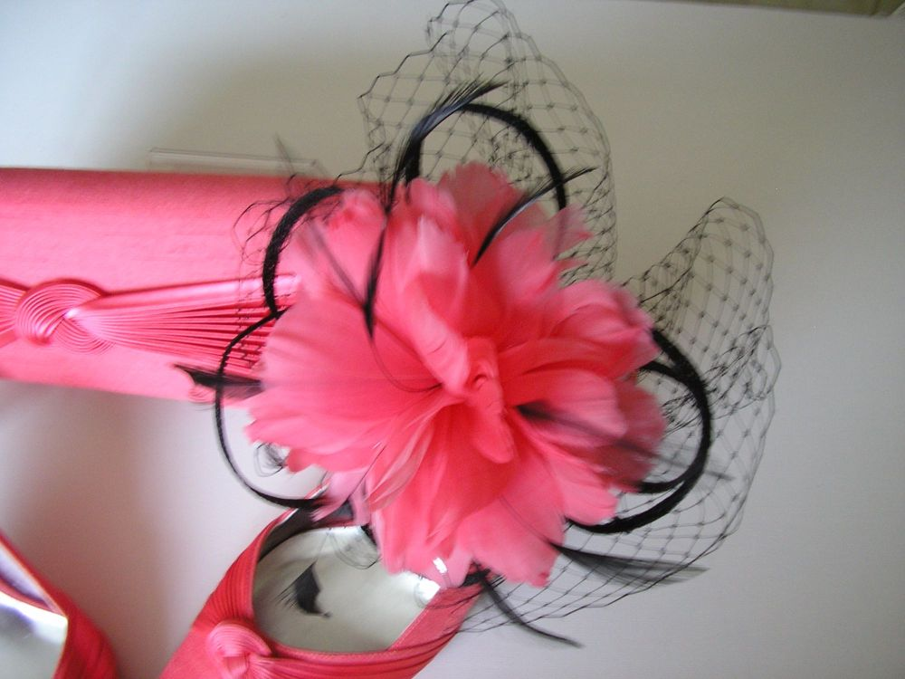 5f721f4cbcd0a Jacques Vert shoes fascinator and bag in coral size 5