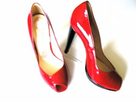 Magrit red patent asymetric peeptoe small platform heels size 5