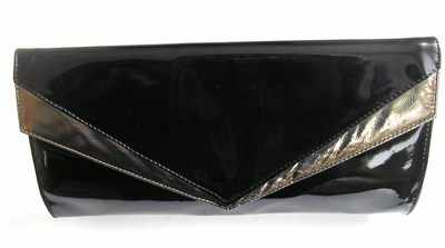 Designer Renata clutch bag black patent burnished gold trim