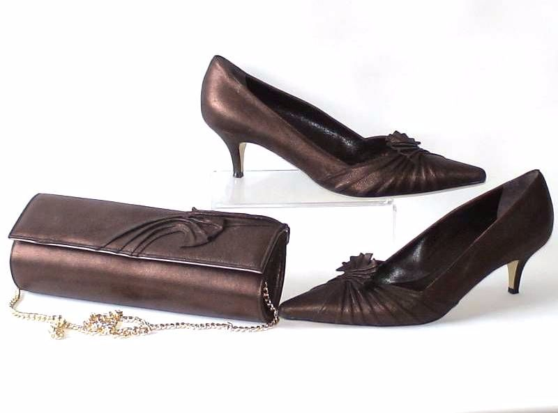 Renata shoes matching bag burnished copper brown size 8 pre-loved