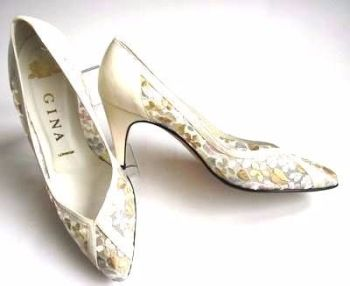 Gina designer shoes mesh cream pastel embroidery size 3 to 3.5