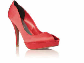 "Kurt Geiger ""Hallie""  peeptoe shoes red satin 5 inch heels size 7"