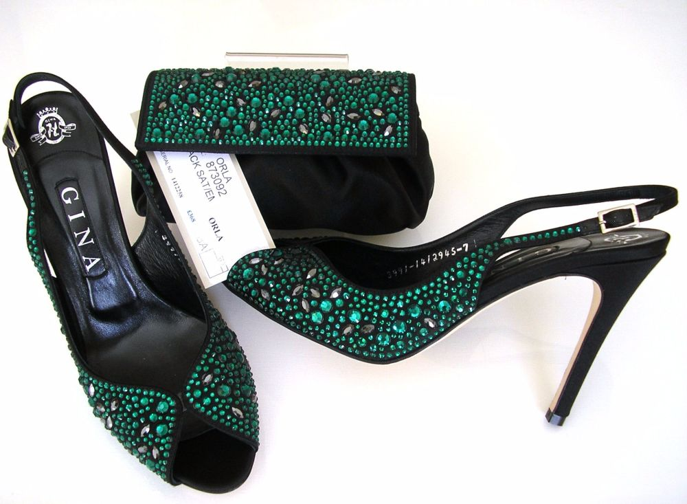 Gina encrusted emerland black satin high heel shoes with matching bag.