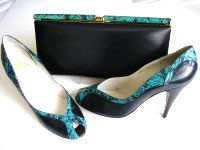 Gina vintage designer navy kingfisher kid peeptoe large matching clutch siz