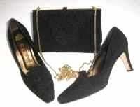 Gina designer shoes matching  bag black silk guipure lace size 4