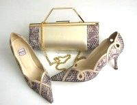 Renata shoes matching 3 way bag gold bluey grey textile size 5