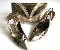 Designer shoes Renata beige with pewter slingback matching clutch size 5.5