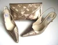 Renata designer shoes matching clutch Broccato beige size6.5