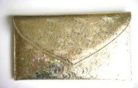 Renata designer envelope clutch gold embossed hologram flower design