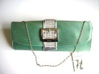 Gina aqua green satin envelope clutch with diamante buckle