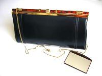 Ackery large clutch shoulder bag navy kid leather tortoishell roundels new