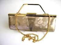 Renata designer 3 way half barrel shape bag .Brocatto beige.mother bride.