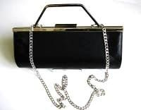 Renata designer 3 way evening bag black kid leather handbag