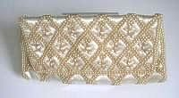 Designer oyster silk clutch purse seed pearl encrusted