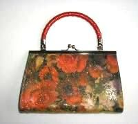 Renata  bag red roses,flowers.red handle.mother bride