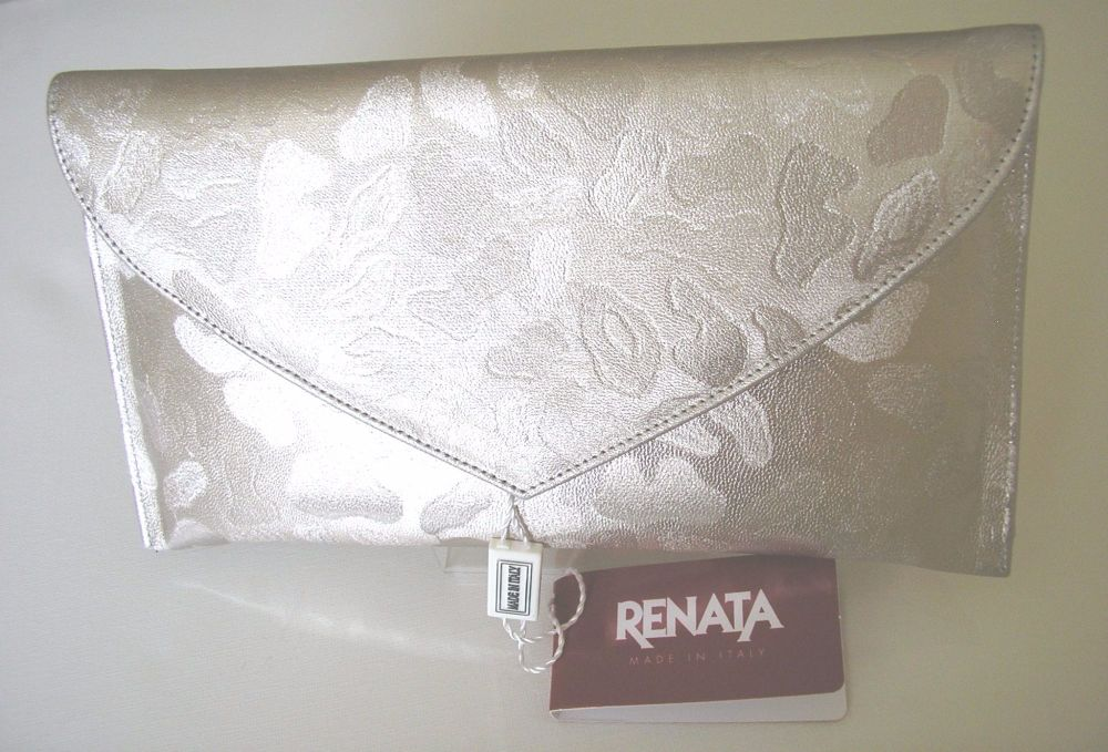 Renata leather cluch bag oyster champagne with pattern mother bride