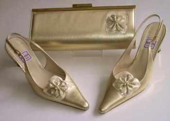 Designer shoes Renata pale gold slingback matching bag size 3.5.