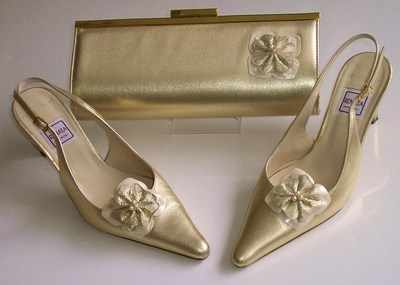 Designer shoes Renata pale gold slingback matching bag size 3.5.