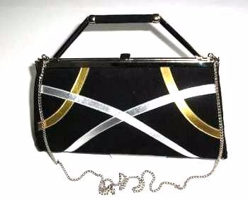 Gina London bag.3 way black suede gold/silver.Vintage pristine