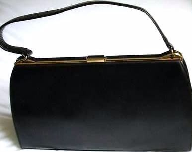 Ackery large handbag black leather vintage unused