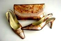 Designer shoes matching clutch Sabrina Chic size 4.5 gold rust mother bride