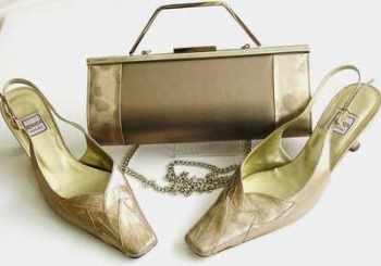 Designer shoes matching bag Renata  Brocatto beige size 5.5
