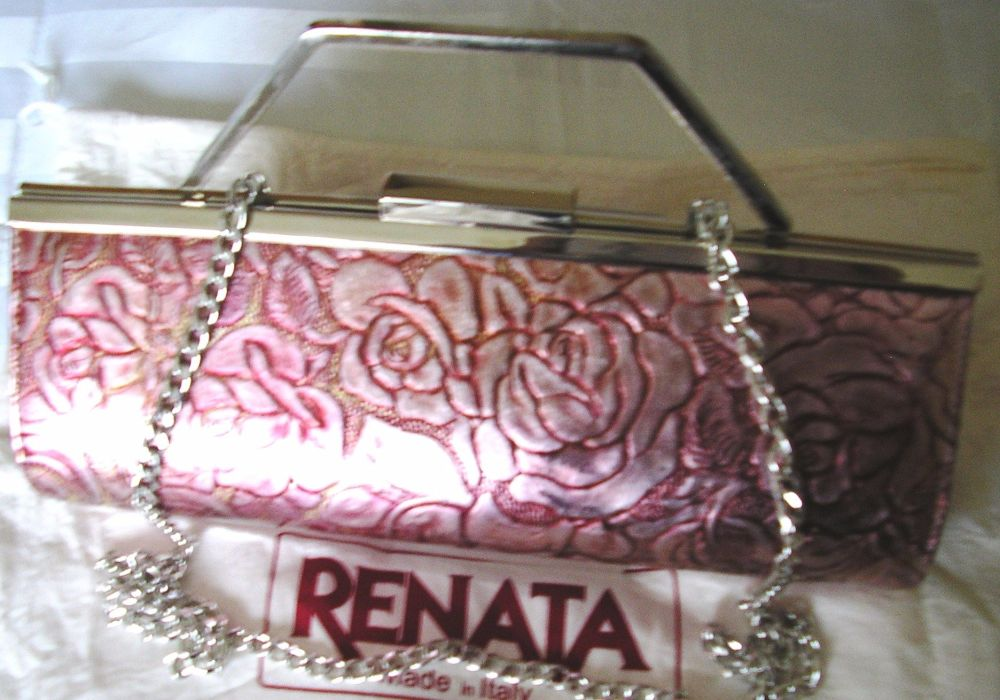 Renata 3 way leather rose design with gold bag