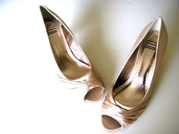Designer Spanish occasions shoes  deep ivory satin peep toe size 5