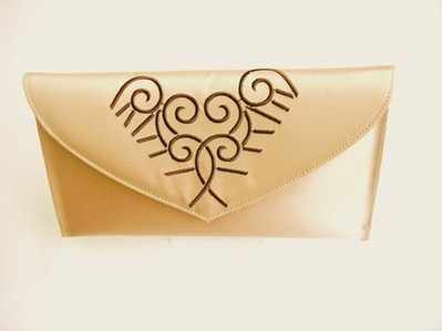 Renata  designer evening clutch bag.beige satin /brown embroidery