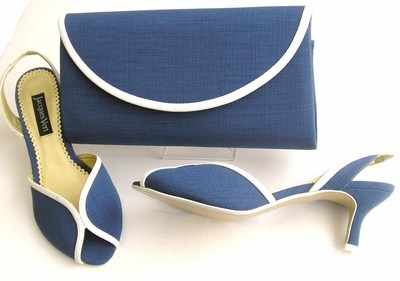 Jacques Vert designer shoes matching bag ocean blue.size 4