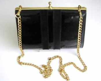 Ackery London bag black patent clutch shoulder bag vintage