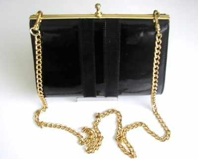 Designer bag  Ackery London black patent clutch/shoulder .vintage