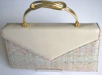 Renata multi colour silks and beige leather bag ornate handle