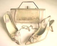 Renata designer shoes matching bag champagne gold size3.5 mother bride