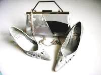 Renata shoes matching bag silver grey mother bride size 3.5