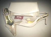 Renata designer shoes  matching clutch bag cream pearl gold size 5 mother b