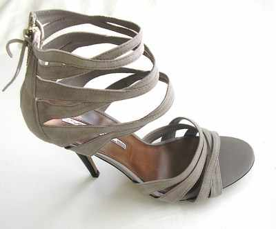 Designer shoes Studio TMl strappy taupe  4.5 inch heels  size7
