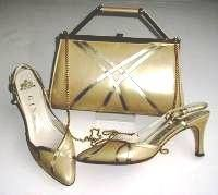 Gina shoes matching bag pale gold kid mother bride size 4