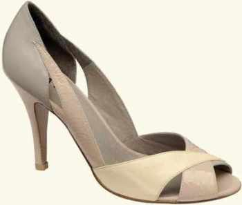 Designer shoes Ravel cream grey lemon peeptoe size 4