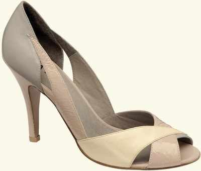 Designer shoes Ravel cream/grey.lemon peeptoe size 4