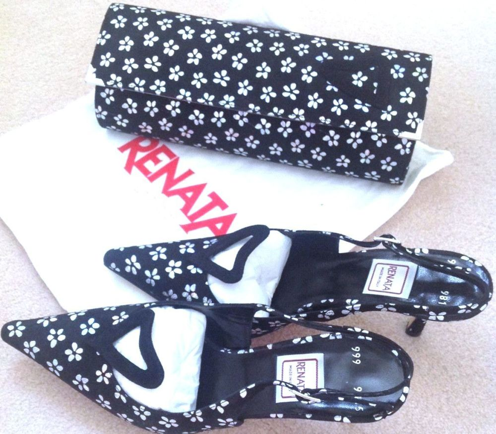 Renata special occasion shoes matching bag .Black with silver size 5.