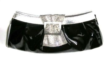 Gina occasions bag black patent swarovski crystalsExample image