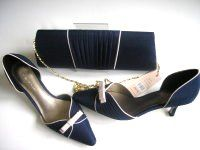 Jacques Vert navy and pale gold pleat shoes matching bag  & fascinator size 4 - 4.5