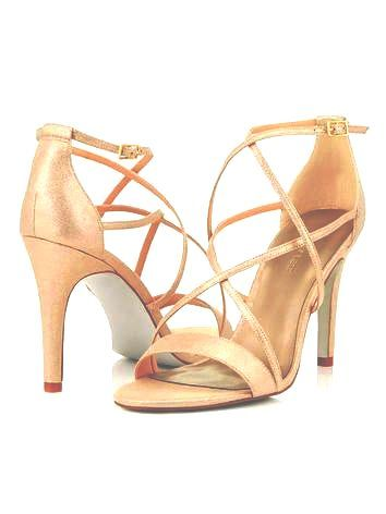 Jacques Vert strappy gold glitter heels size 8